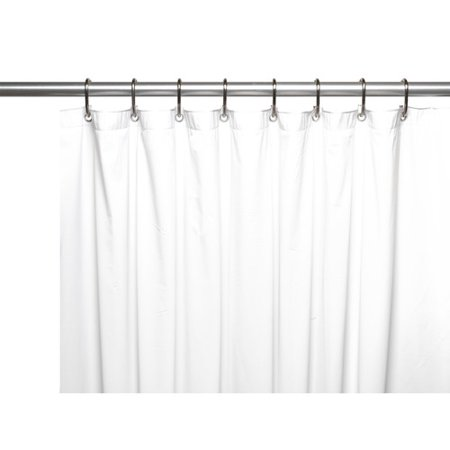 3 Gauge Vinyl Shower Curtain Liner w/ Weighted Magnets and Metal ...
