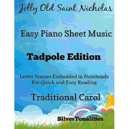 Jolly Old Saint Nicholas Easy Piano Sheet Music Tadpole Edition - (Old Eazy E)