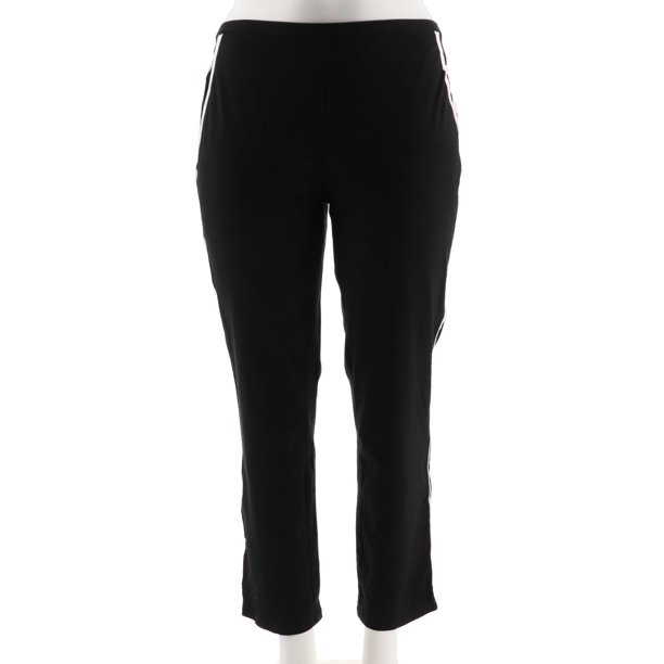 Ankle Pants For Women : Women with Control Slim Leg Ankle Pants Contrast Trim A292374
