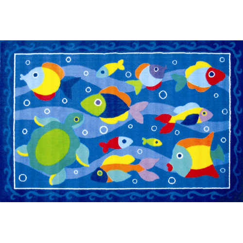 Fun Rugs Olive Kids Somethin' Fishy Fish Blue Area Rug