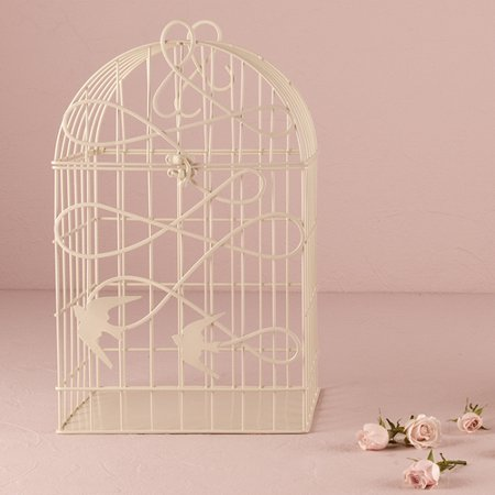Wishing Well For Wedding (Modern Decorative Birdcage with Birds in Flight White Wedding Wishing)