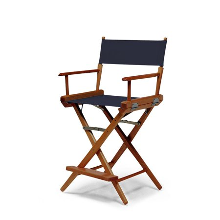 Telescope Casual World Famous Balcony Height Director Chair With Walnut Stain Finish and Navy Fabric ()