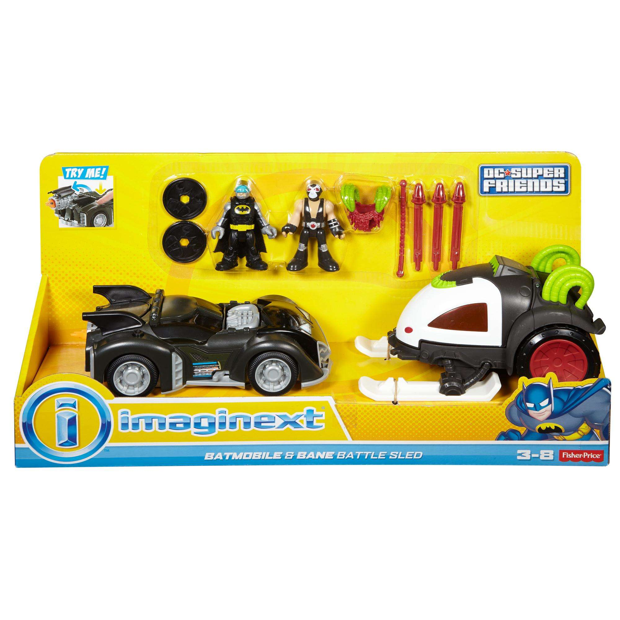 Imaginext Batmobile and Bane Battle Sled Action Figures