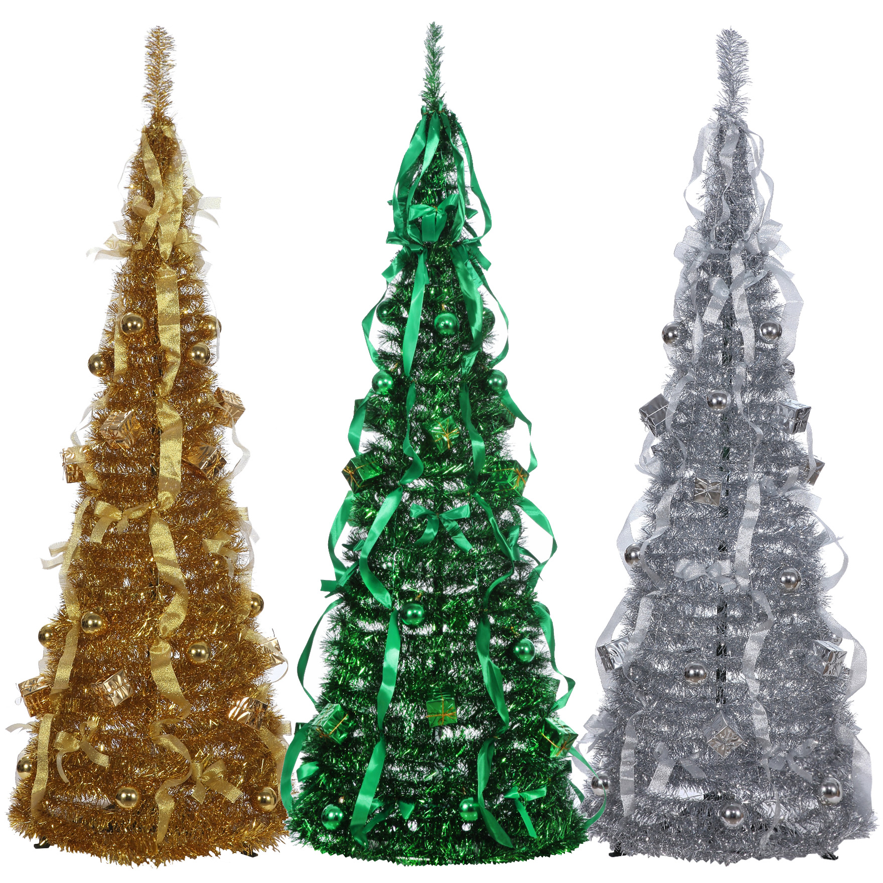 homegear 5ft artificial decorated collapsible christmas tree xmas decoration silver walmartcom