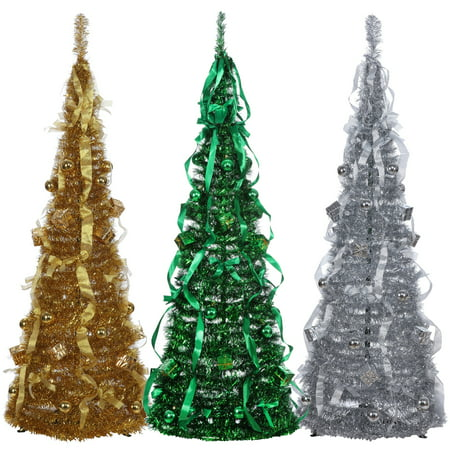 Homegear 5Ft Artificial Decorated Collapsible Christmas Tree Xmas Decoration Gold
