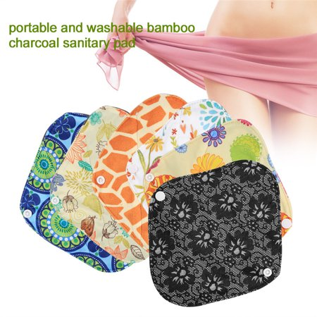 Reusable Menstrual Pad Set,1PC Washable Wet Bag Pouch + 6PCS Reusable Cloth Sanitary Menstrual Pads Panty Liner