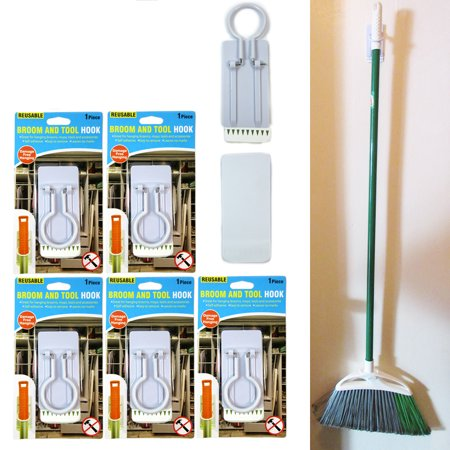 5Pc Broom Mop Wall Holder Garden Tool Garage Organizer Hanger Clip Self Adhesive