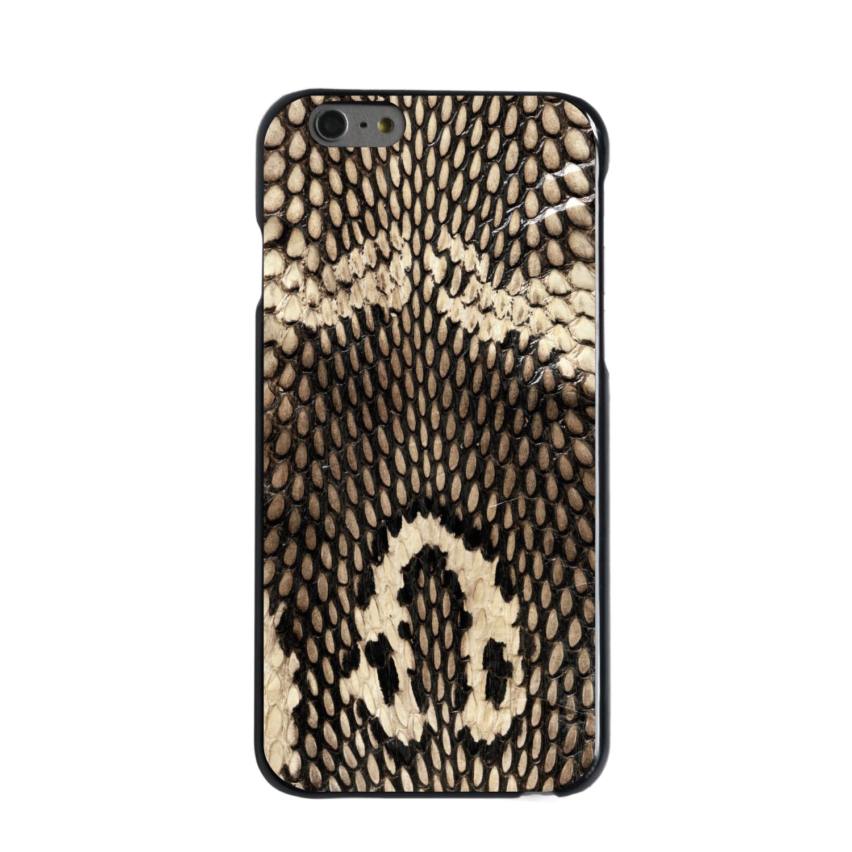 "CUSTOM Black Hard Plastic Snap-On Case for Apple iPhone 6 / 6S (4.7"" Screen) - Brown Tan Snake Skin Texture"