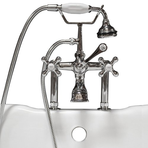 Cambridge Plumbing Clawfoot Deck Mount Brass Tub Faucet with Hand Held Shower