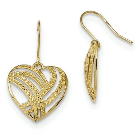 14k Yellow Gold Drop Dangle Chandelier Heart Shepherd Hook Earrings Love Gifts For Women For Her ()