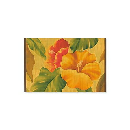 Bamboo Placemat (Hawaiian Style Bamboo Placemat Vintage Hibiscus Set Of)