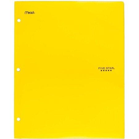 Five Star 2-Pocket Stay-Put Plastic Folder, Yellow (37453)