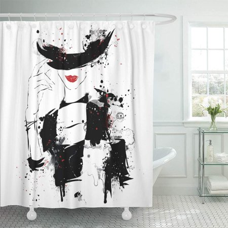 PKNMT Black Glamour Modern Teenage Girl on Grunge Style Generation White Model Abstract Shower Curtain Bath Curtain 66x72 inch (Glamour Shower Curtain Set)