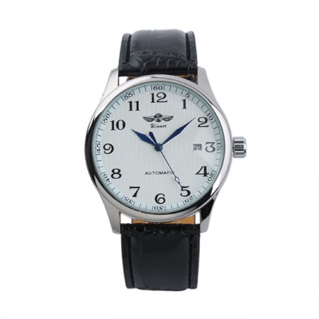 White Dial Automatic Mens Watch Date Display Leather Pin Buckle Self-winding