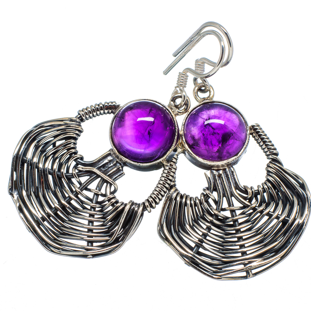 """Ana Silver Co Amethyst Earrings 1 3/4"""" (925 Sterling Silver) - Handmade Jewelry EARR341094"""