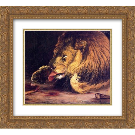Henry Ossawa Tanner 2x Matted 24x20 Gold Ornate Framed Art Print 'Lion Licking Its Paw - Lion Paw Print