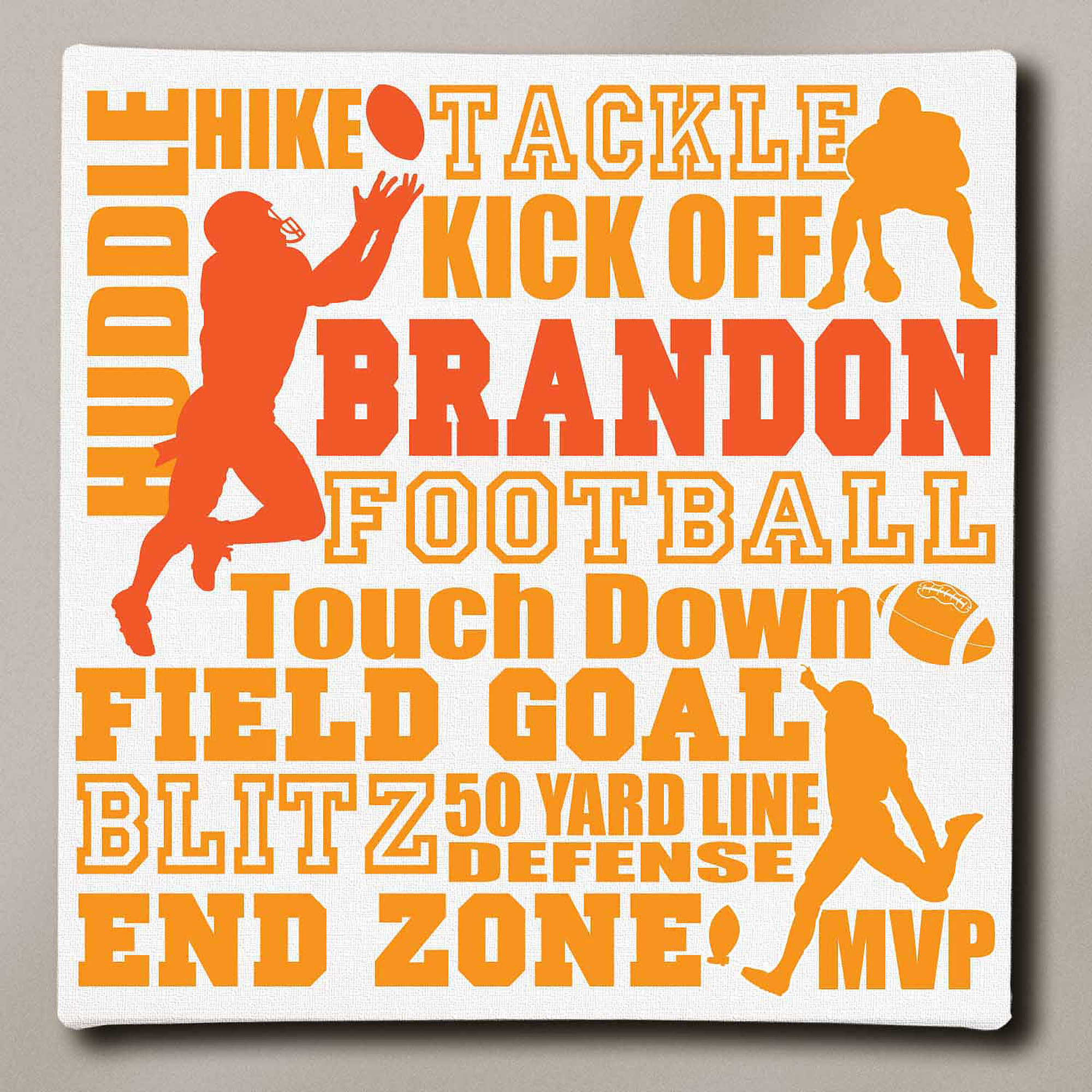 "Personalized Football Typography Canvas, 16"" x 16"""