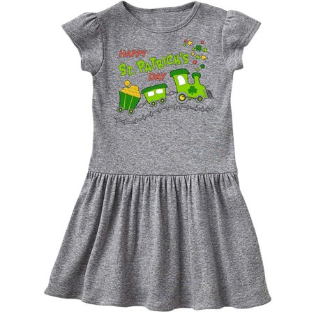 Happy St. Patrick's Day shamrock train Toddler Dress - St Patrick's Day Dress