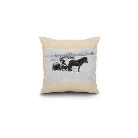 - Children on Pony Drawn Sled Photograph (16x16 Spun Polyester Pillow, White Border)