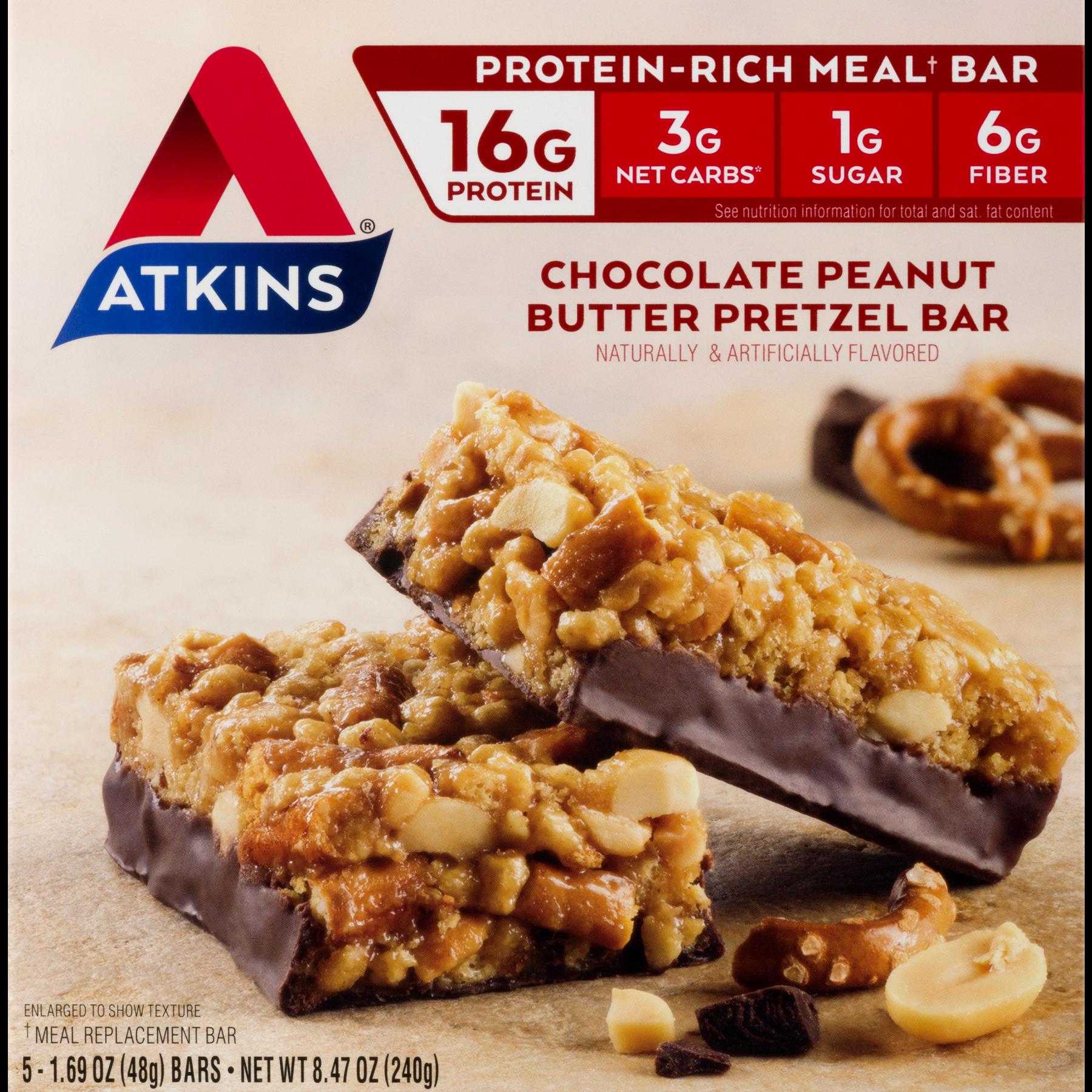 Atkins Chocolate PB Pretzel Bar, 1.7oz, 5-pack (Meal Replacement)