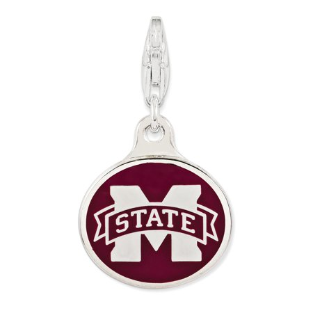 Roy Rose Jewelry Sterling Silver Enamel Mississippi State University w/ Lobster Clasp (Enamel Rose Charm)