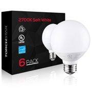 6 Pack G25 Globe LED Light Bulb, 6W (40W Equiv.), ENERGY STAR, 2700K Soft White Vanity Bulb for Pendant, Bathroom, Dressing Room Decorative Lighting, 3-Year Warranty