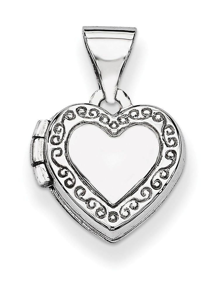 ICE CARATS 14kt White Gold Heart Shaped Scrolled Photo Pendant Charm Locket Chain Necklace That Holds Pictures Fine... by IceCarats Designer Jewelry Gift USA