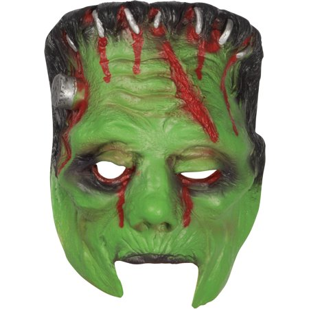 Halloween Horror Frankenstein Monster Face Mask, Green Black Red, One Size - Horror Face Mask
