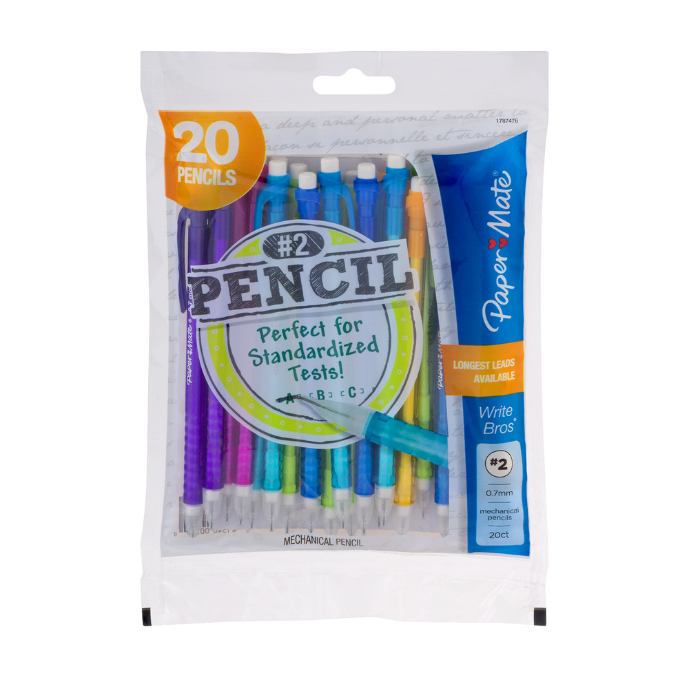 Paper Mate Write Bros Mechanical Pencils, #2 HB, Medium Point 0.7mm, 20-Count