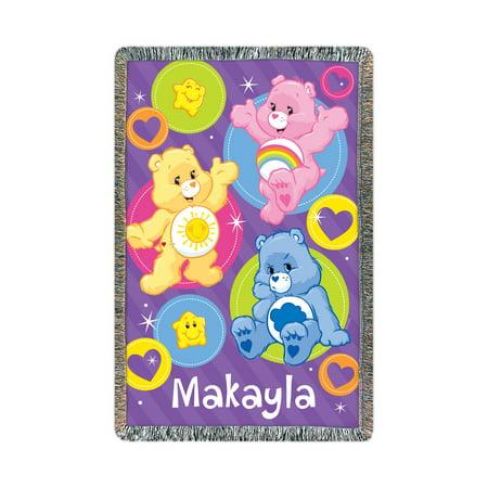 Personalized Care Bears Cheer, Funshine and Grumpy Bear Throw ()