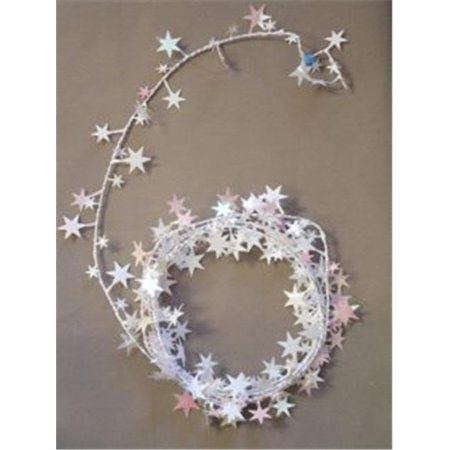 Party Deco 04949 25 ft. Iridescent White Star Wire Garland - Pack of 12