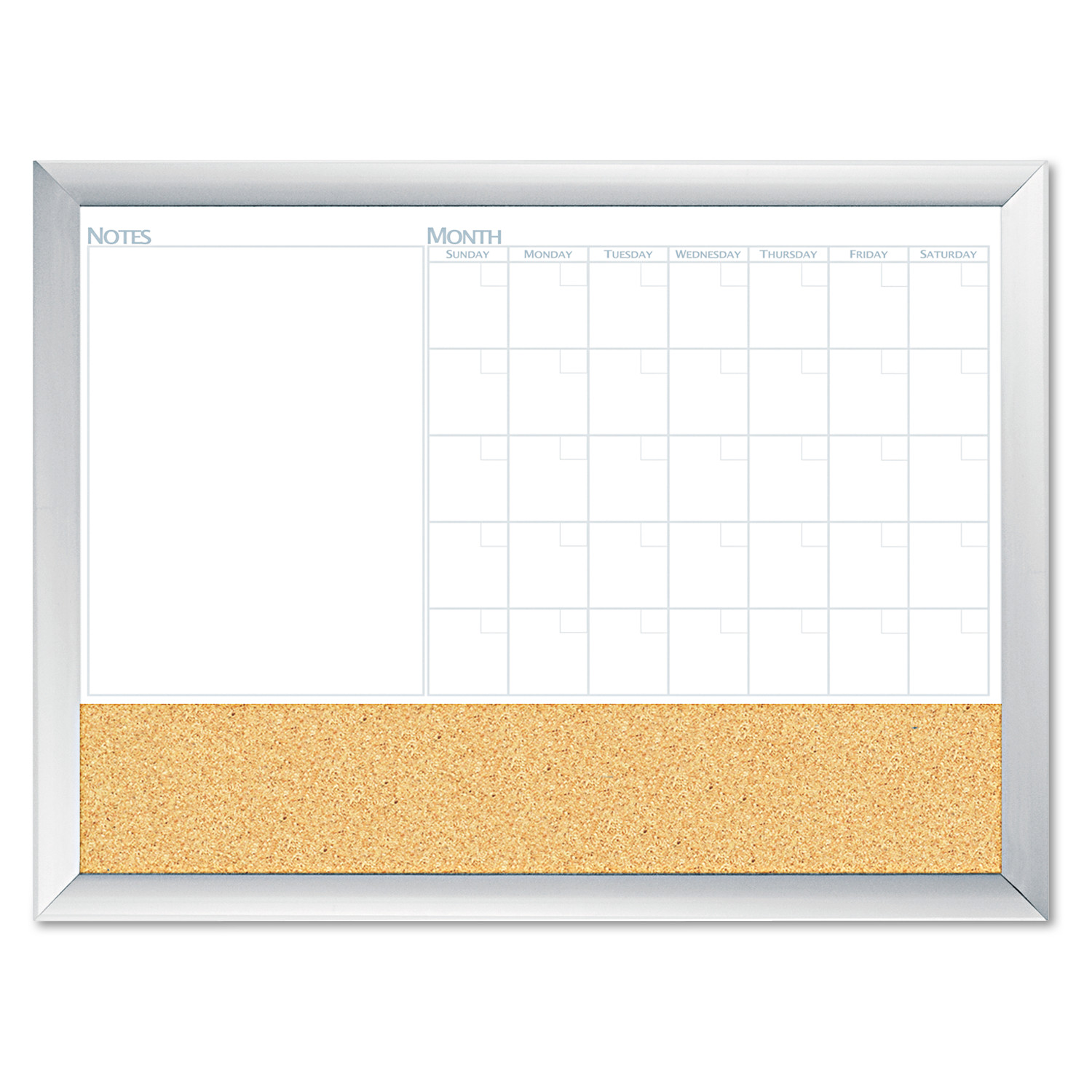 The Board Dudes Magnetic Dry Erase 3-N-1 Board, Cork Area, 36 x 24, White with Silver Frame