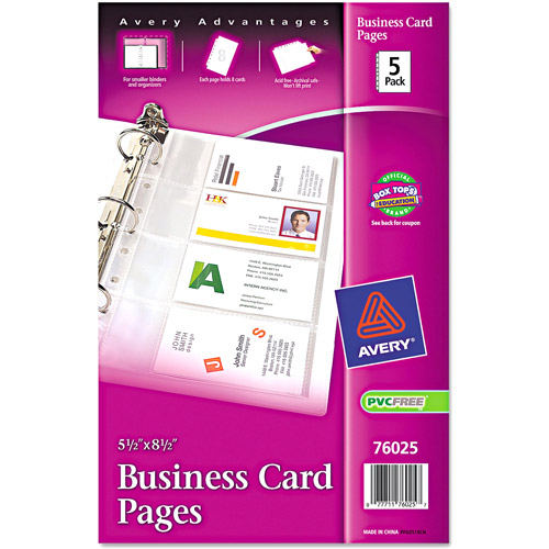 Avery Business Card Binder Pages, 5pk