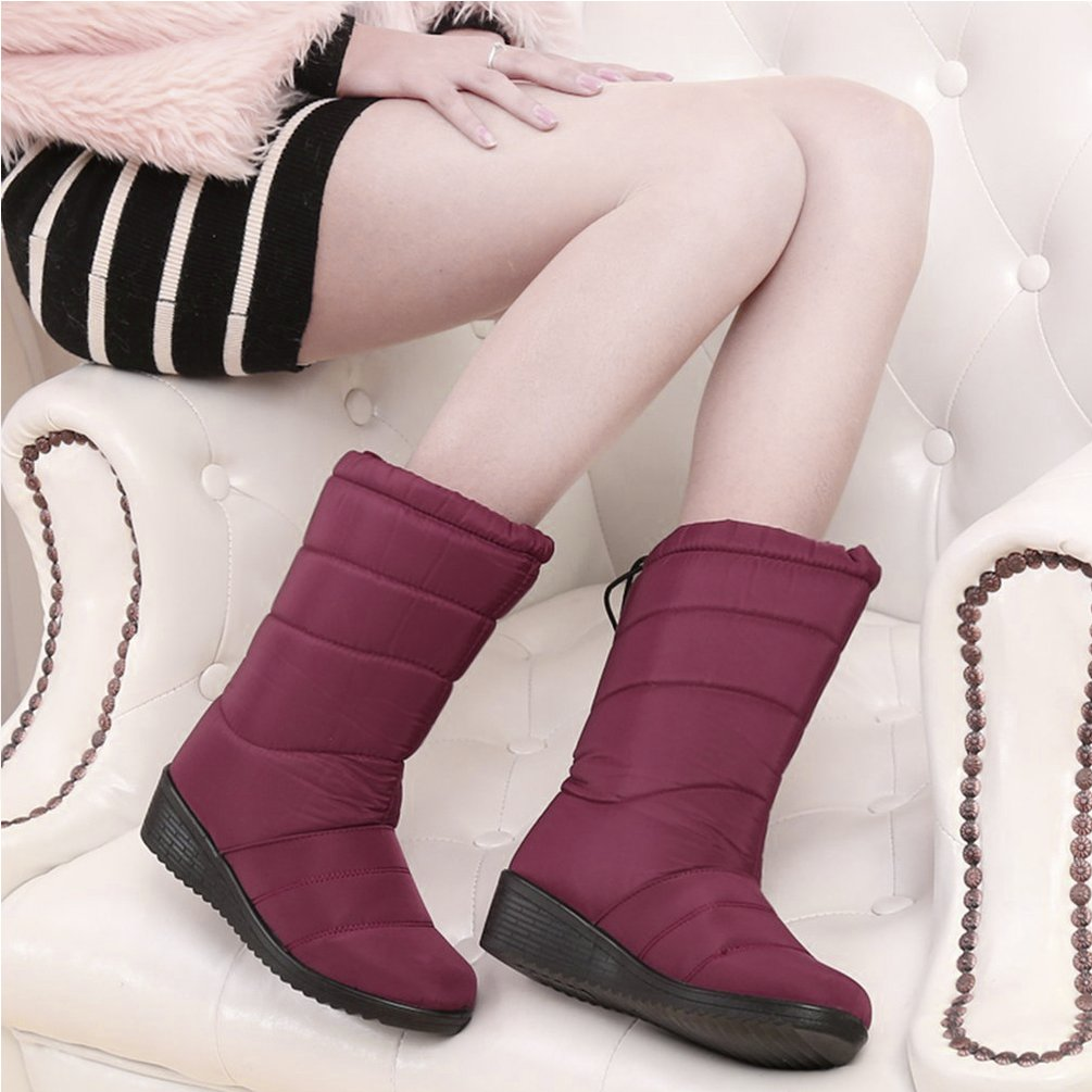 Hot Sale NEW Fashion Winter Women Boots With Velvet Snow Boots Wedge Heel Warm Female Shoes With Tassels Waterproof Non-slip Boots Shoes(red)