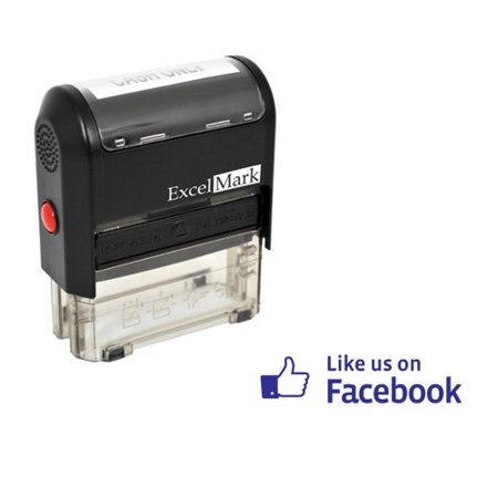 ExcelMark Self Inking Like Us On Facebook Stamp - Blue