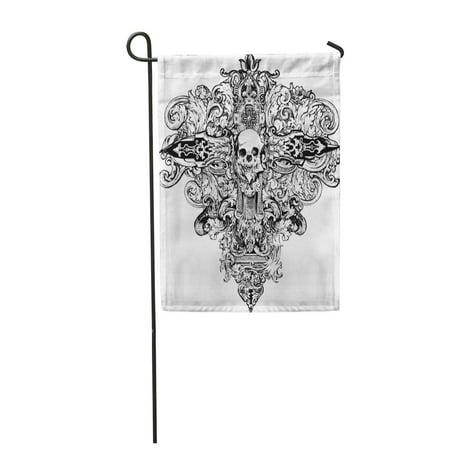 KDAGR Skull Great for and Gothic Cross Goth Bones Garden Flag Decorative Flag House Banner 12x18 inch (Goth Bones)