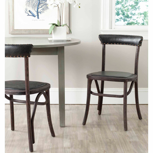 Safavieh Kenny Bicast Leather Side Chair, Set of 2, Black with Brass Nail Heads