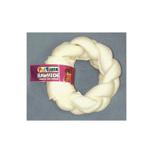 """5"""" Pestime Rawhide Braided Donut Dog Treat"""