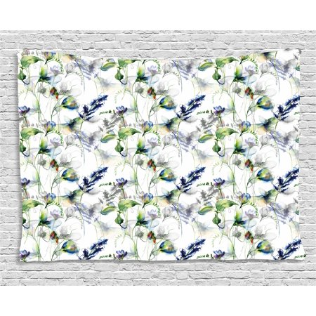 Flower Tapestry, Floral Pattern with Sweet Pea Blossoms in Watercolor Paint Effect Spring Theme, Wall Hanging for Bedroom Living Room Dorm Decor, 60W X 40L Inches, Green White Blue, by Ambesonne