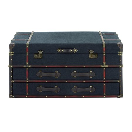 Cole amp Grey Wood And Fabric Coffee Table Trunk Walmartcom