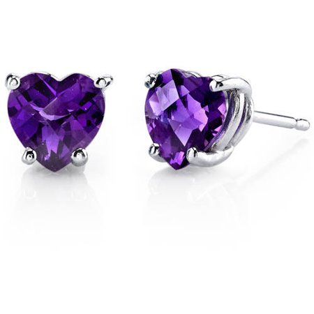 1.50 Carat T.G.W. Heart-Cut Amethyst 14kt White Gold Stud Earrings