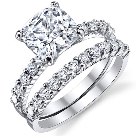 Fabulous Cushion Cut Cubic Zirconia Sterling Silver 925 Wedding Engagement Ring Band Set
