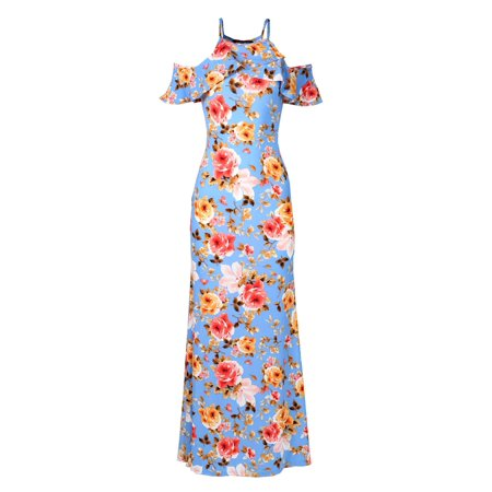FashionOutfit Women's Affordable Beach Wedding Guest Floral Cold Shoulder Maxi Dress Made in USA - Affordable 1920s Dresses
