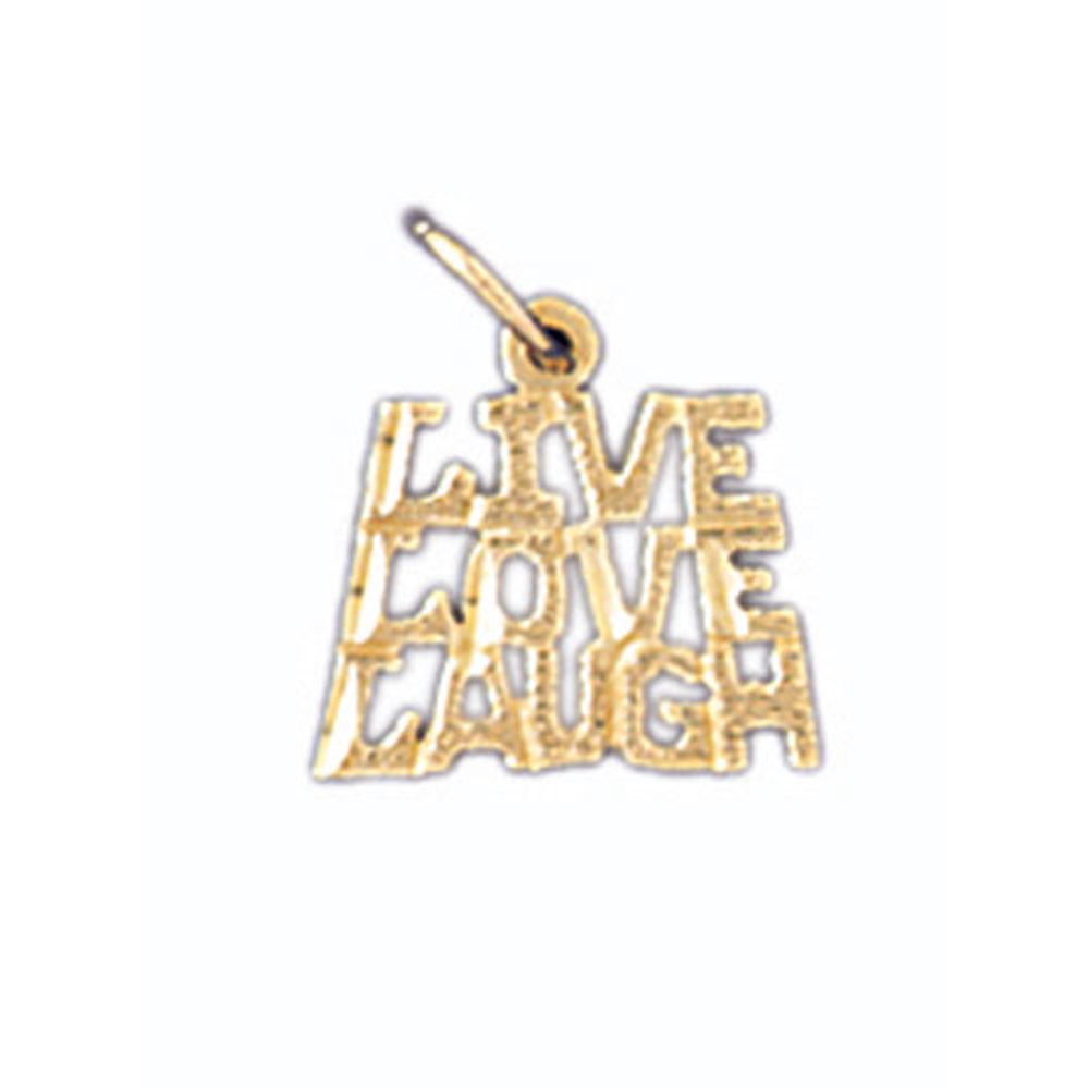 14K Yellow Gold Live Love Laugh Saying Pendant - 12 mm