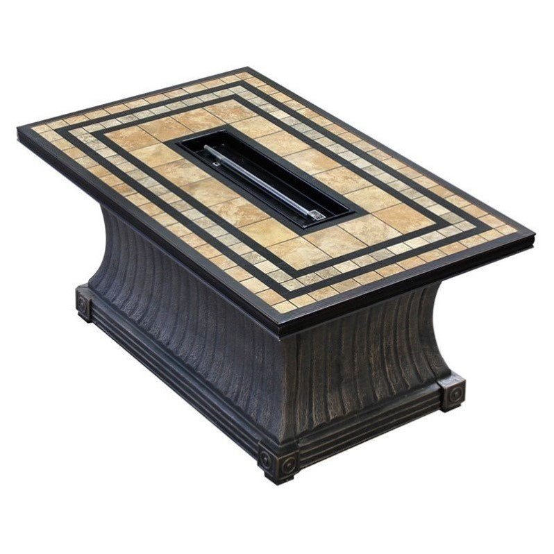 TK Classics FP-TUSCAN-KIT Tuscan - 32 x 52 Inch Rectangular Porcelain Top Gas Fire Pit Table