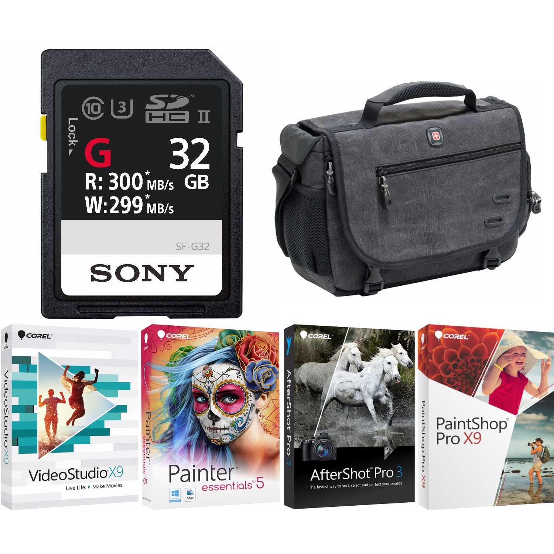 Sony SF-G Series UHS-II 32GB SD Memory Card + DSLR Messenger Bag + Corel Software Kit by Sony