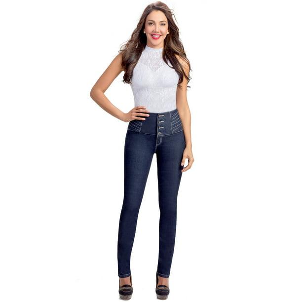 Lowla Lowla 217205 Mid Rise Skinny Butt Lifting Colombian Jeans Pantalones Levanta Cola Walmart Com Walmart Com