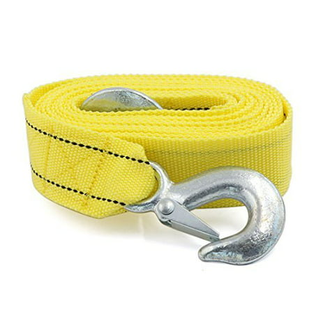 3 Tons Car Tow Cable Towing Strap Rope With Hooks Emergency Heavy Duty ()