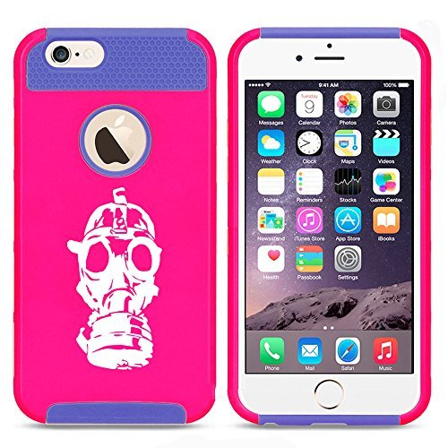 Apple iPhone (6 Plus   6s Plus) Shockproof Impact Hard Case Cover Gas Mask Zombie (Hot Pink-Blue ) by
