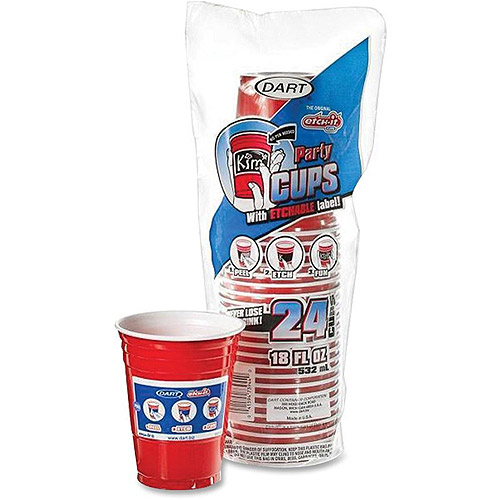 Plastic Cups, Etchable, 18 oz., 24/PK, Red DCC16ERL24